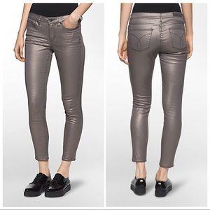 Calvin Klein Ankle Skinny Metallic Pewter Jeans